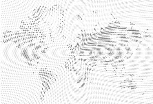 Abstract Dotted Map Black and White Halftone grunge Effect Illustration. World map silhouette. Continental shapes of dots. Monochrome radial circular grain background. Vector template easy to edit.