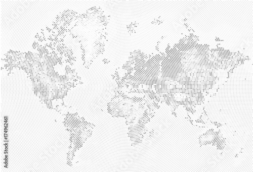 Abstract dotted map black and white halftone grunge effect abstract dotted map black and white halftone grunge effect illustration world map silhouette continental gumiabroncs Image collections