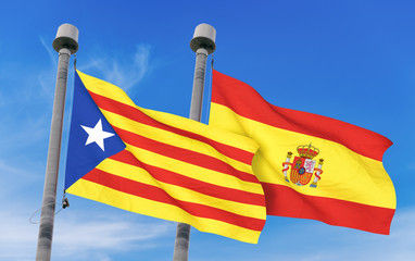 Spain flag and Catalan Estelada Flag over blue sky background (3D rendered illustration)