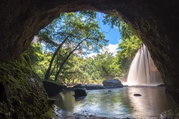 Haew Suwat Waterfall in Khao Yai National Park in Thailand