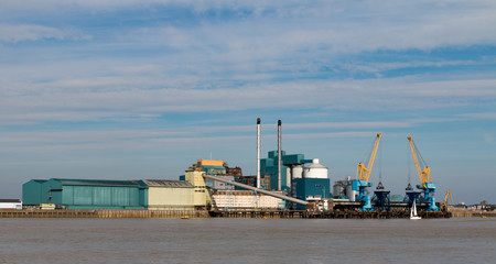 Europe's largest sugar refinery factory on the north bank of the River Thames in London, England, United Kingdom. It produces 1.2 million tonnes of sugar per year.