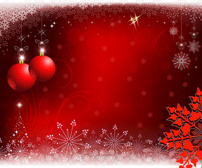 red background with christmas balls