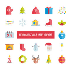 Merry Christmas and Happy New Year vector flat icons set. Modern icons for web, print, mobile apps design