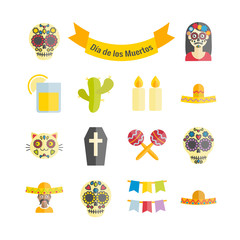 Mexican the Day of the Dead (Dia de los Muertos) vector flat icons set