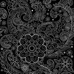 Paisley, turkish cucumber. Black and white hand-drawn pattern.