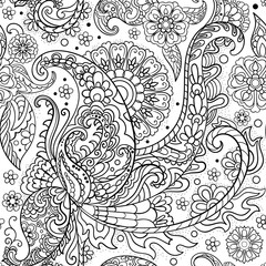 Paisley, turkish cucumber. Black and white hand-drawn pattern.