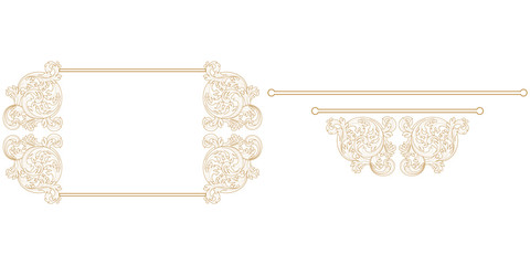 Set of vintage border frame engraving with retro ornament pattern in antique baroque style decorative design. Vector