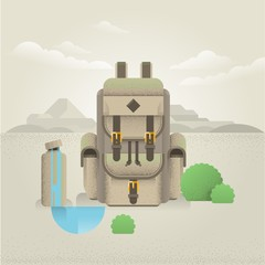 backpack and water bottle in the mountain illustration