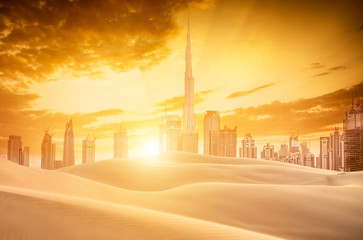 View of dubai skyline and desert