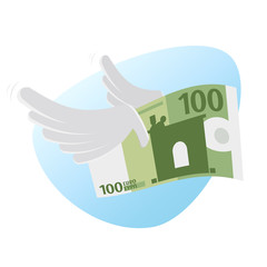 clipart of euro bank note with wings