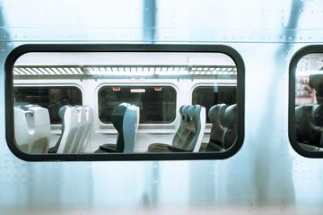 Fond de hotte en verre imprimé New York City View in window of New York City Long Island Railroad Train at Pennsylvania Station.