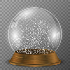 Crystal snow globe on wood stand. Snowglobe with wood decoration on transparent vector background.