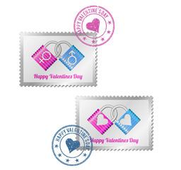 Abstract padlocks on postage stamp