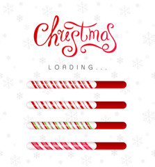 Christmas loading bar collection. Progress borders with candy cane texture.