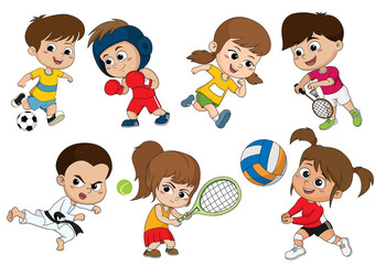 Children of various types of sports, such as soccer, boxing, running, badminton, taekwondo, play tennis, volleyball.