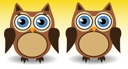 couple of owls, boy and girl with long eyelashes, love, together