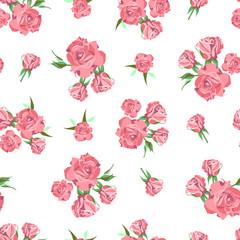 Seamless pattern on white background. Rose flowers.