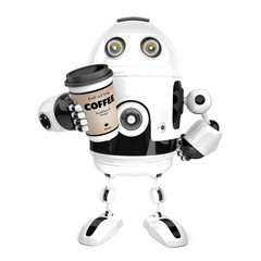 Robot with a cup of coffee. 3D illustration. Isolated. Contains clipping path