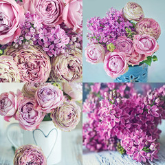 Flower collage. Flower arrangement with very beautiful flowers. Close-up floral composition with a pink roses and lilacs