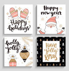 Set of christmas and new year cards.