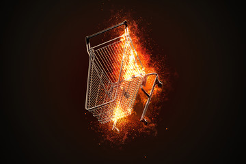 Burning shopping cart. 3D illustration