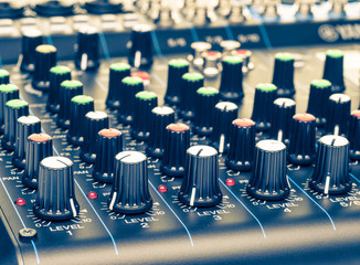 mixing console knobs close-up