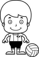 Cartoon Smiling Volleyball Player Boy