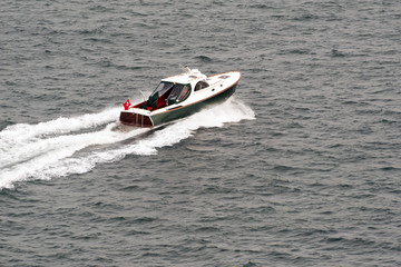 A motorboat on the sea