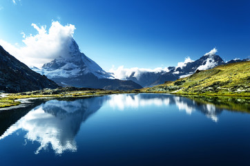 Spoed Foto op Canvas Bergen Reflection of Matterhorn in lake, Zermatt, Switzerland