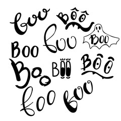 Happy Halloween vector design elements. Boo set lettering illustraions. Doodle letters for greeting card, print, invitation, banner, poster