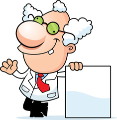 Cartoon Mad Scientist Sign