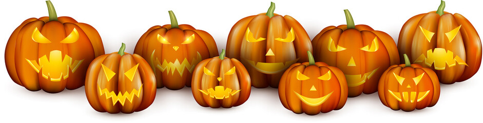 White banner with orange halloween pumpkins.