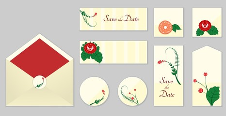 A set of invitations with ornament in the Slavic folk style