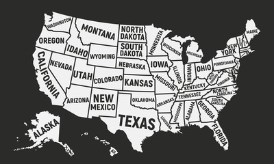 Wall Mural - Poster map of USA with state names. United States of America map. American background.
