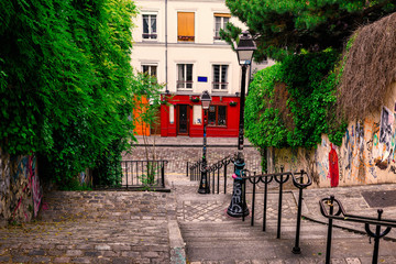 Typical Montmartre staircase in Paris, France