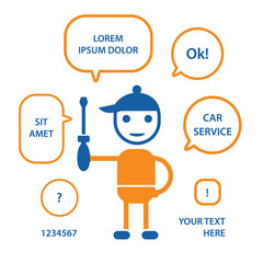 Handyman mechanic holding a screwdriver, technical support or maintenance vector illustration.