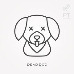 Line icon dead dog