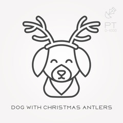 Line icon dog with christmas antlers