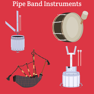 Scottish pipe band musical instruments vector illustration