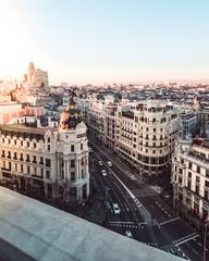 Poster de jardin Madrid Gran Via, Madrid at sunset (Spain)