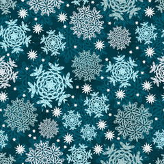 Snowflakes seamless pattern for Christmas packaging, textiles,  snow illustration.