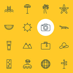 Vector Illustration Of 16 Summer Icons. Editable Pack Of Longue, Island , Cap Elements.