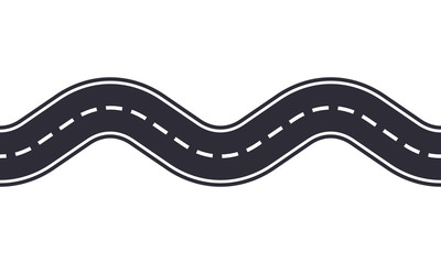 Winding road isolated on white background. Seamless pattern of asphalt road. Car traffic design template. Vector illustration.