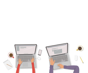 Man and woman working on the laptop sitting at the table. Vector illustration. The view from the top. Mockup