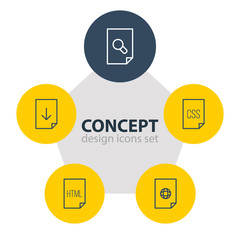 Vector Illustration Of 5 Document Icons. Editable Pack Of Code, Internet, Upload And Other Elements.