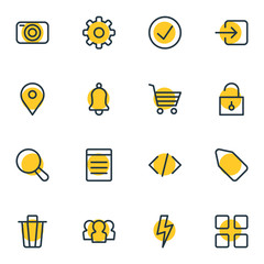 Vector Illustration Of 16 Application Icons. Editable Pack Of Magnifier, Label, Gear And Other Elements.