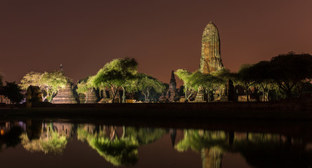 Wat Phra Ram Temple at night in Ayuthaya Historical Park, a UNESCO world heritage site in Thailand