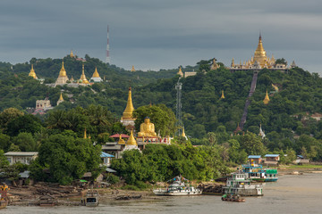 Golden pagodas in sagaing hill, Mandalay, Myanmar.