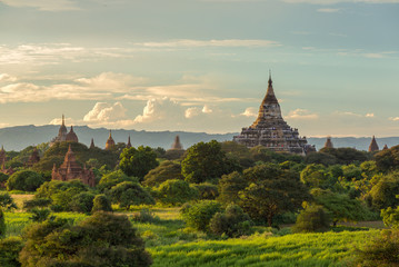 Beautiful sunrise over the ancient pagodas in Bagan, Myanmar