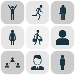 Person Icons Set. Collection Of Work Man, Happy, Running And Other Elements. Also Includes Symbols Such As Social, Person, Relation.